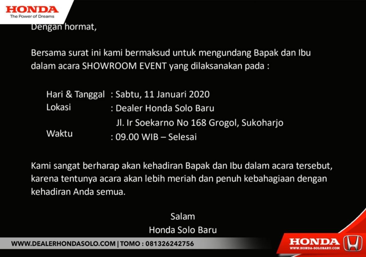 Spesial Showroom Event Minggu Ini Di Dealer Honda Solo